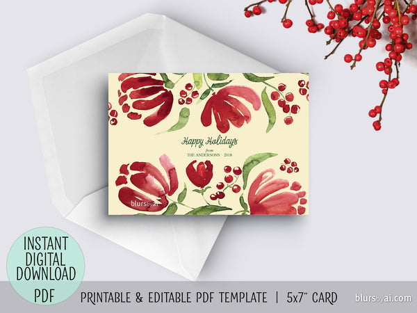 Editable pdf Christmas card template: watercolor retro floral blooms (yellow/red)