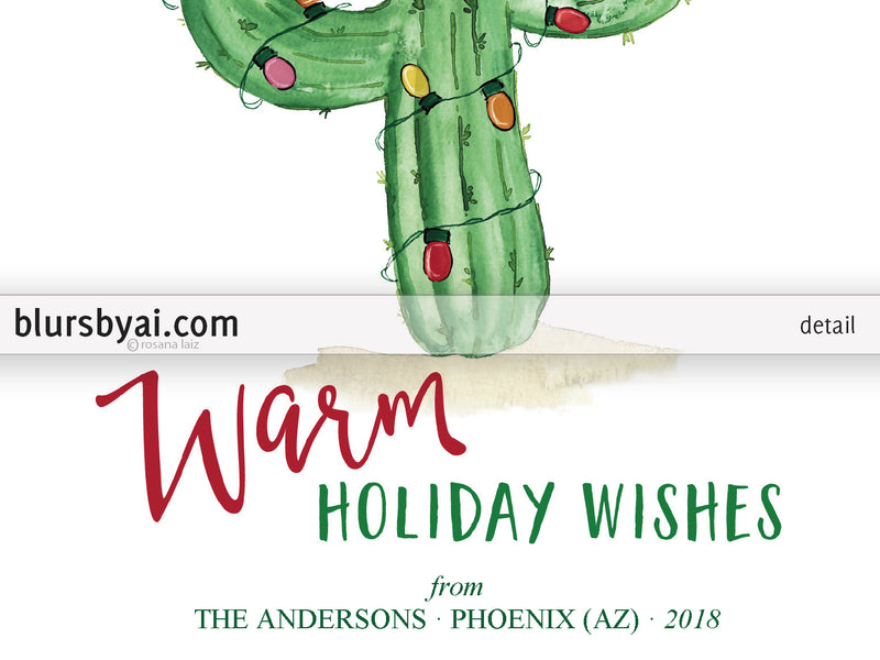 Editable pdf Christmas card template: watercolor cactus with holiday lights
