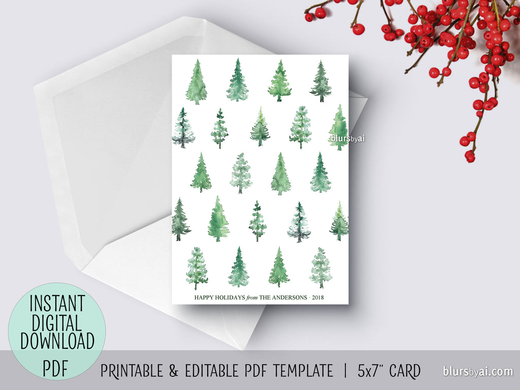 Watercolor Christmas Cards.Editable Pdf Christmas Card Template Abstract Watercolor Christmas Tree Pattern