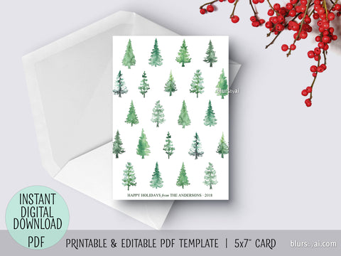 Editable pdf Christmas card template: Abstract watercolor Christmas tree pattern