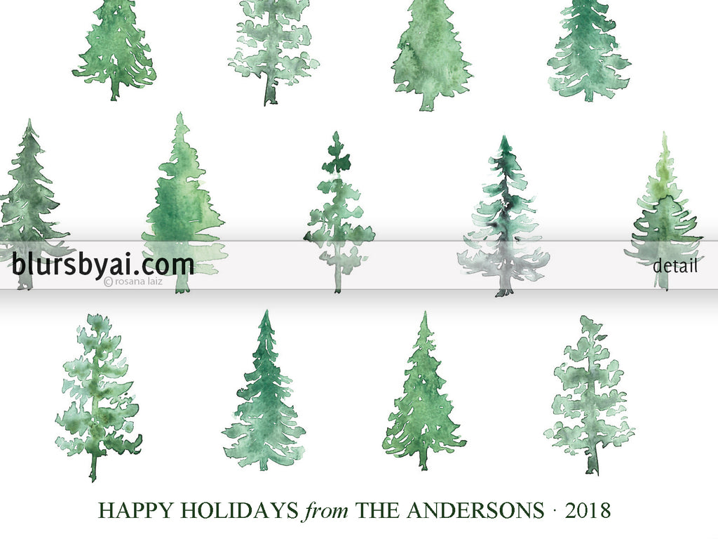 Editable pdf Christmas card template: Abstract watercolor Christmas ...