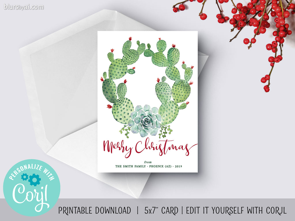 Personalized printable Christmas card: watercolor cacti wreath - Edit with Corjl