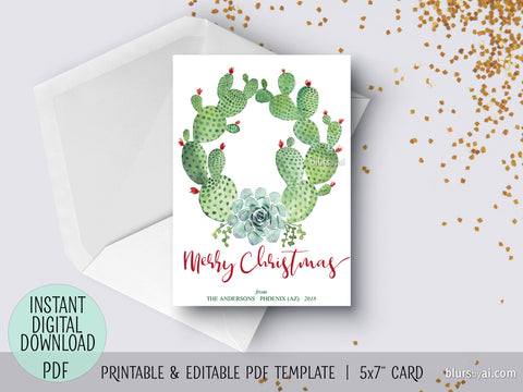 Editable pdf Christmas card template: cacti and succulents watercolor wreath