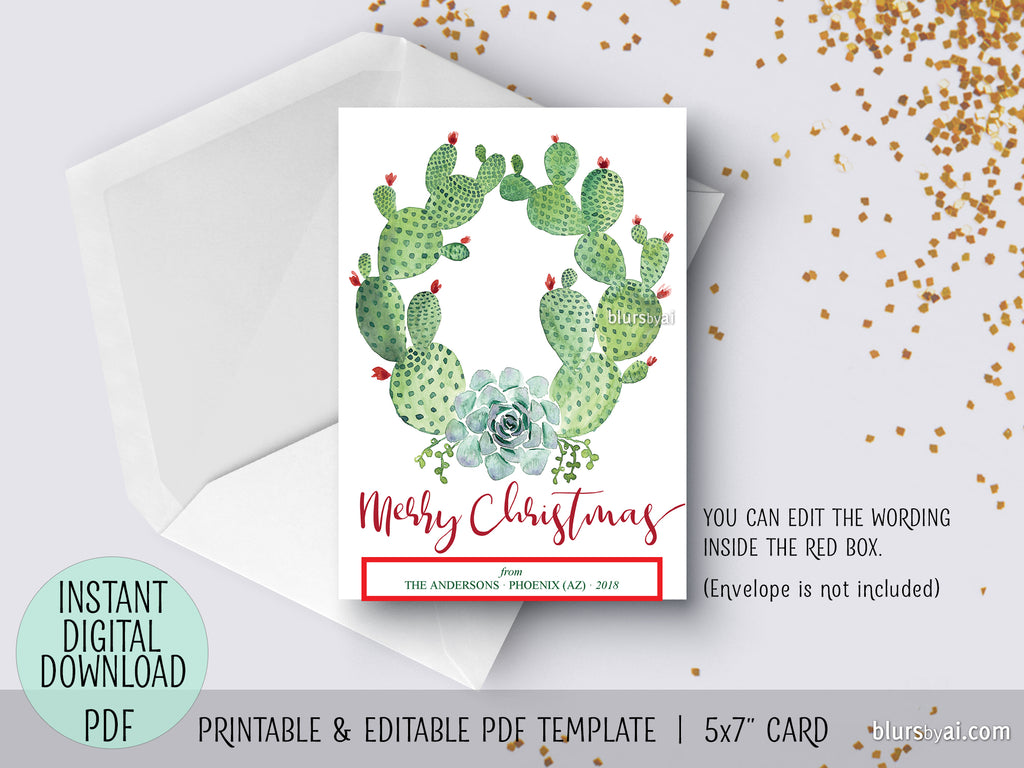 Editable Pdf Christmas Card Template Cacti And Succulents