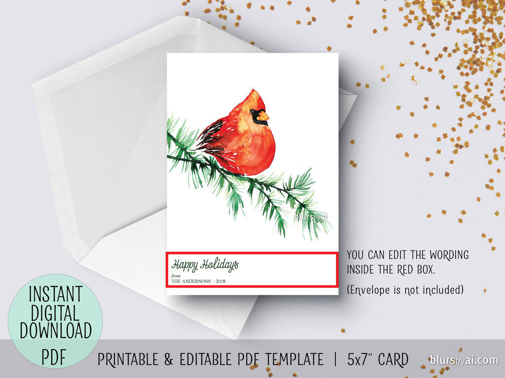 Editable Pdf Christmas Card Template Watercolor Red Cardinal In A
