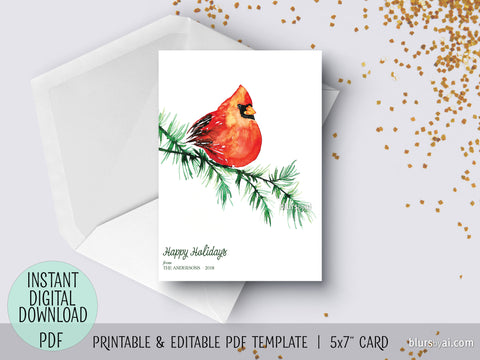 Editable pdf Christmas card template: watercolor red cardinal in a branch