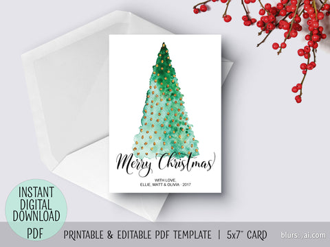 Editable pdf Christmas card template: Abstract watercolor Christmas tree