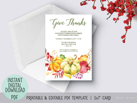 Editable pdf Thanksgiving invitation template: Give Thanks with flowers and pumpkins