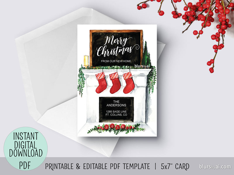 Editable pdf Christmas card template: New home watercolor fireplace mantel