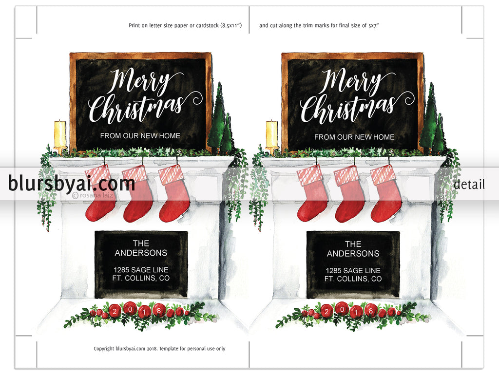 Editable pdf Christmas card template: New home watercolor fireplace ...