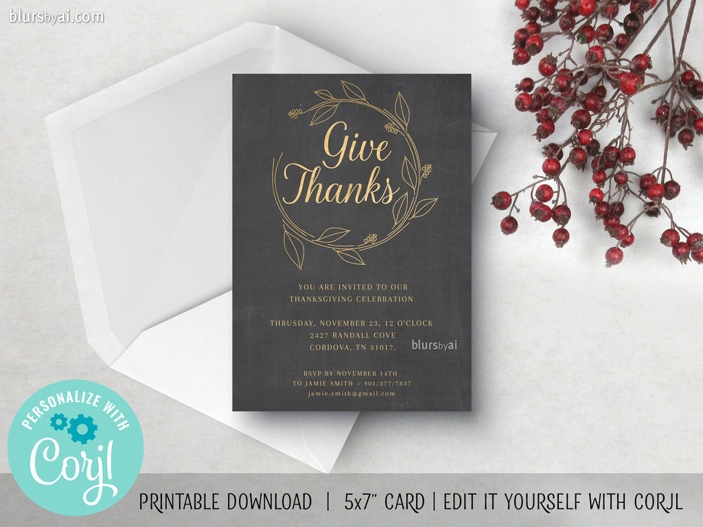 Editable printable Thanksgiving party invitation: give thanks - Edit with Corjl