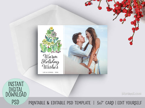 Editable psd Christmas card template: succulent Christmas tree