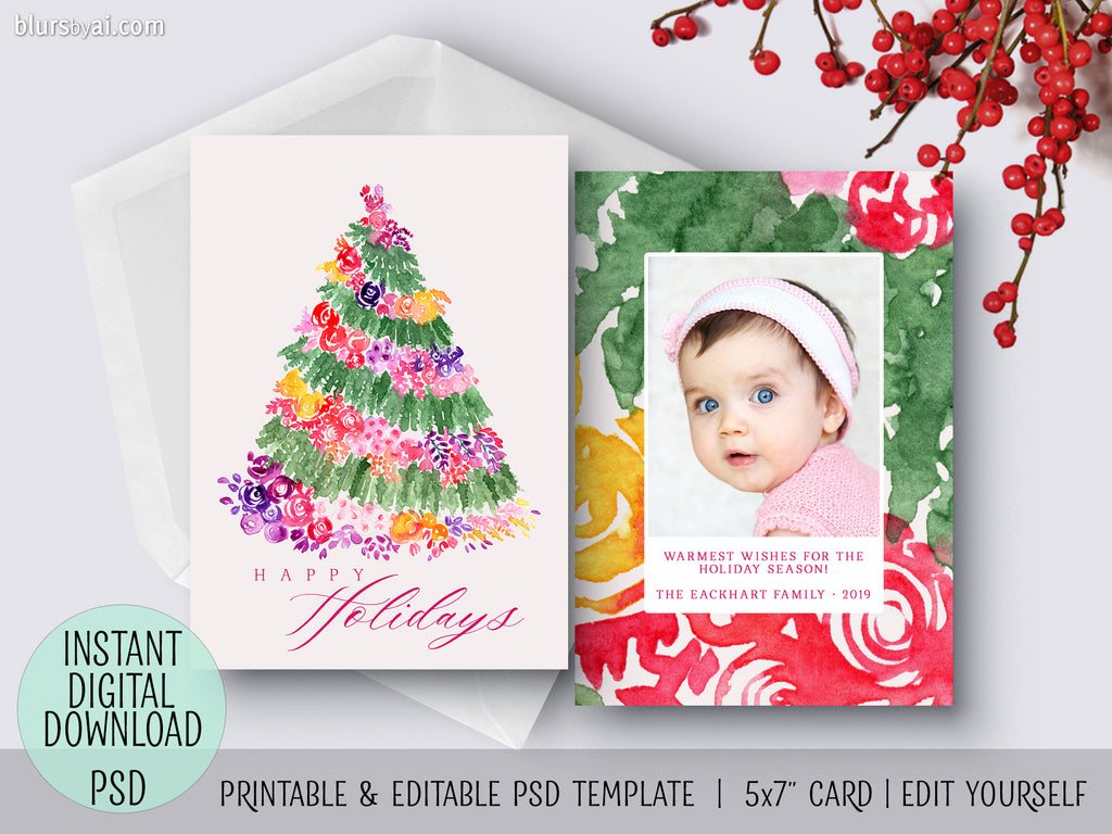 Editable psd Christmas card template: watercolor floral Christmas tree