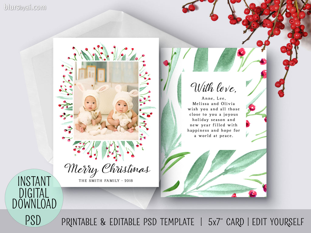Editable psd Christmas card template: bohemian watercolor bouquet
