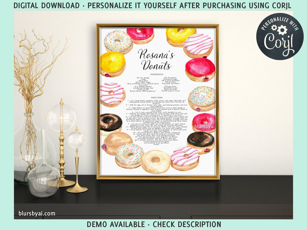 Printable kitchen art: customizable donut recipe - Personalize it yourself easily with Corjl