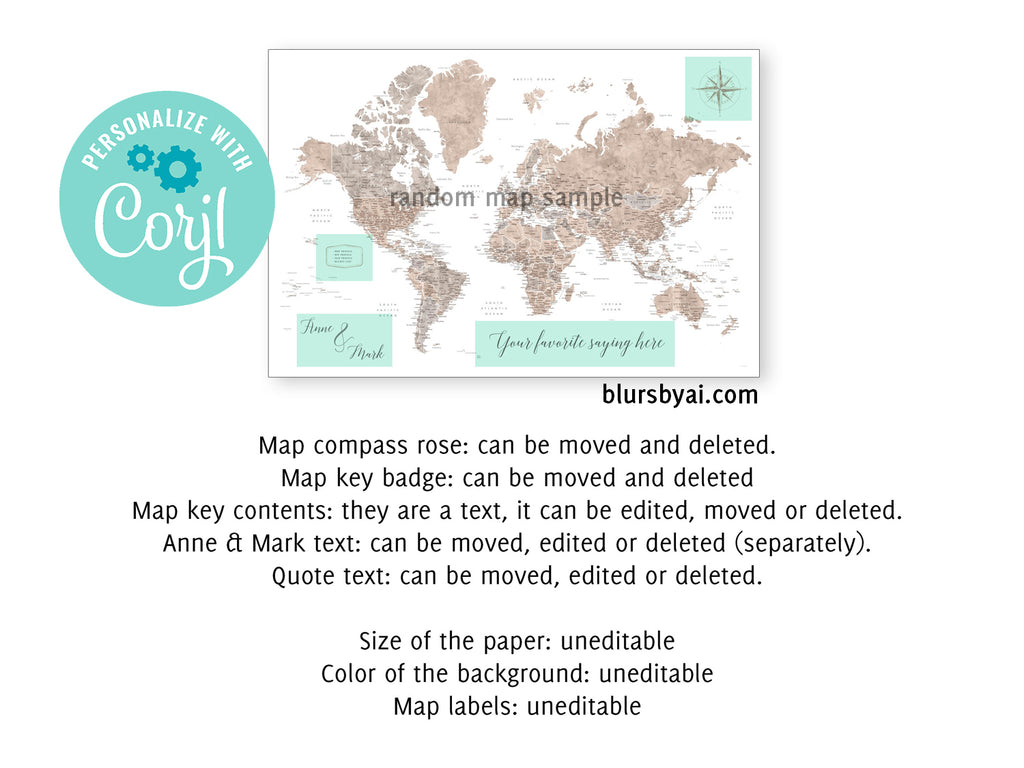 "Personalized PRINTABLE world map with cities, ""Korinne"", edit-it-yourself using CORJL - Instant download for PERSONAL USE"