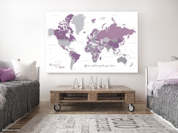 "Personalized large & highly detailed world map canvas print or push pin map in purple and gray. ""Aubergine"""
