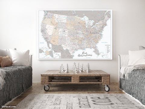"Our Adventures, large and detailed USA canvas print or push pin map, ""Lincoln"""