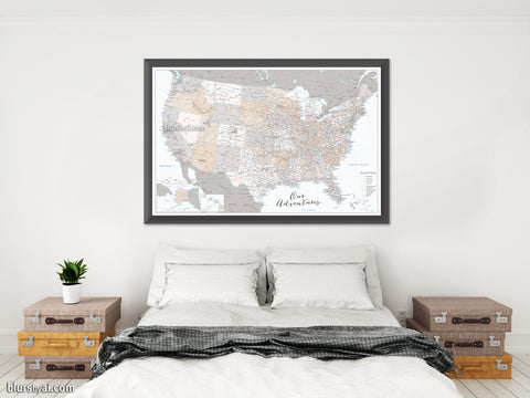 "Our adventures, large and detailed USA map print, ""Lincoln"""