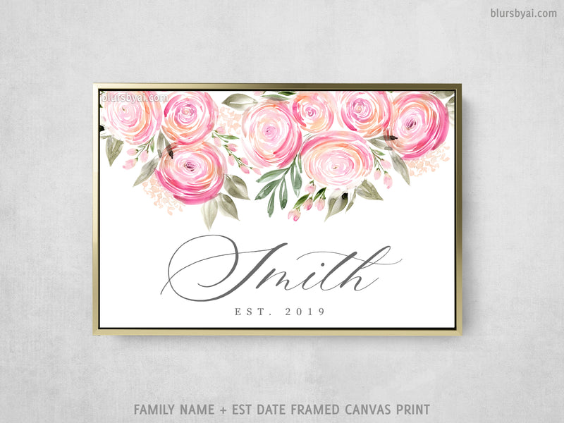 "Custom family name canvas print, ""Watercolor ranunculus"""