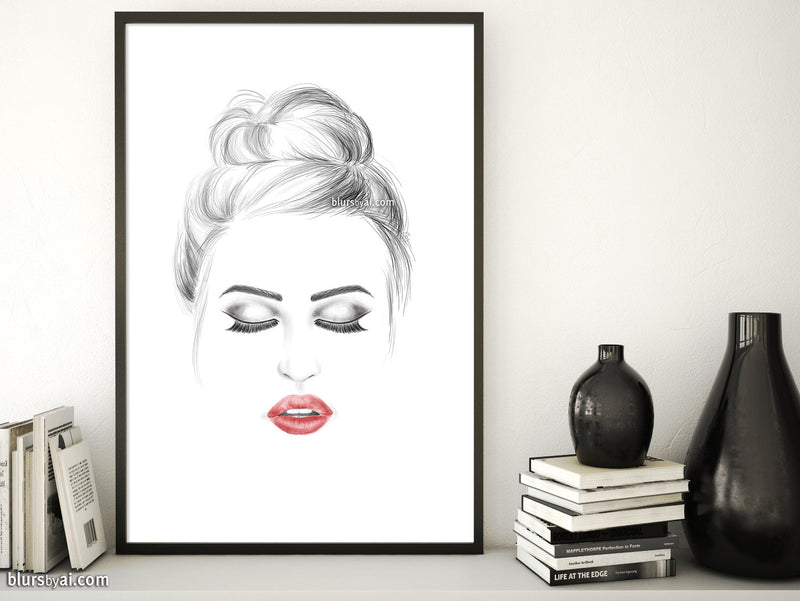 Printable fashion illustration: red lips, messy bun, closed eyes