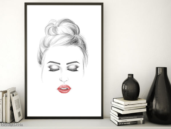 photo about Printable Fashion referred to as Printable design and style instance: crimson lips, messy bun, shut eyes