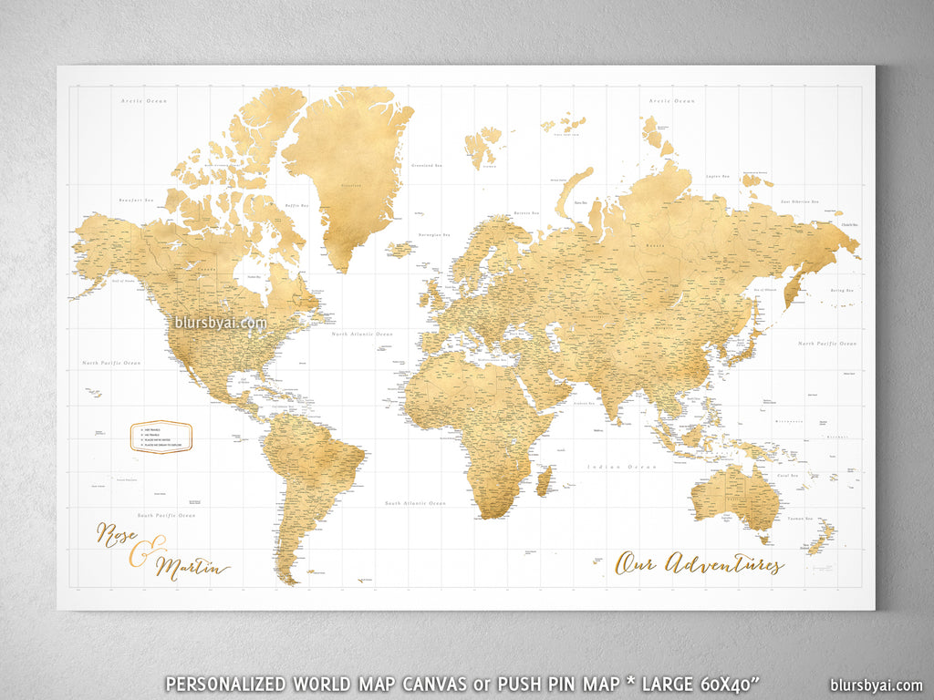 Custom Large Highly Detailed World Map Canvas Print Or Push Pin