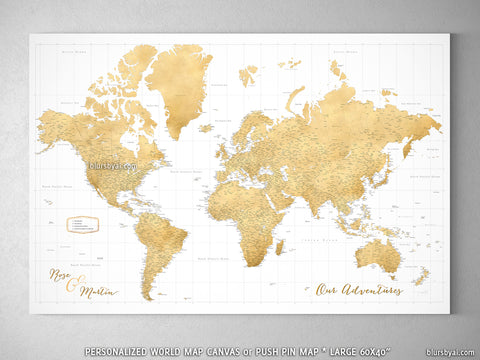 "Personalized large & highly detailed world map canvas print or push pin map. ""Rossie"""