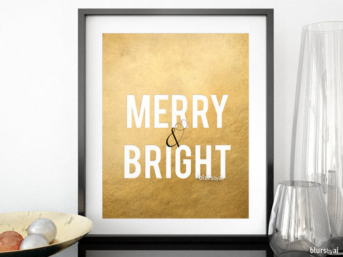 Merry & bright Christmas decor in faux gold foil