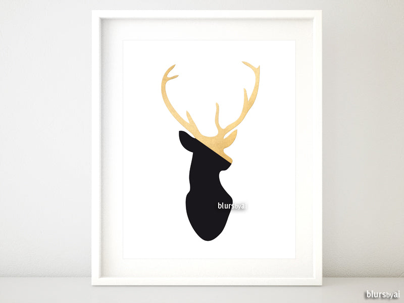 Black and gold deer head printable art - Personal use