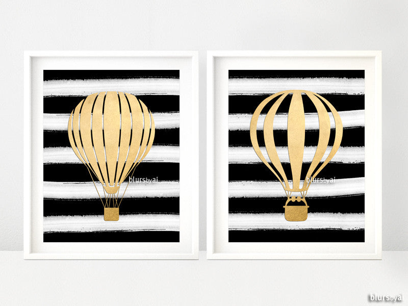 Set of 2 - Digital download - Hot air balloon printables in gold foil and black & white stripes - Personal use