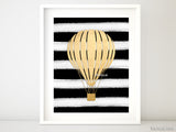 Set of 2 - Digital download - Hot air balloon printables in gold foil and black & white stripes