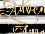 Adventure awaits printable art in gold foil and black & white stripes