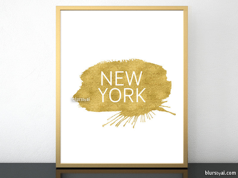 Custom city or country name in this style, gold paint stroke and modern all caps font