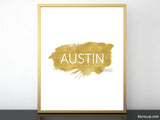 Austin printable home decor featuring a gold paint stroke