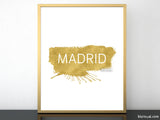 Madrid printable home decor featuring a gold paint stroke
