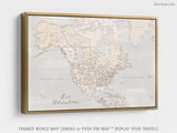 "Custom map of North America, canvas print or push pin map in rustic style. ""Lucille"""
