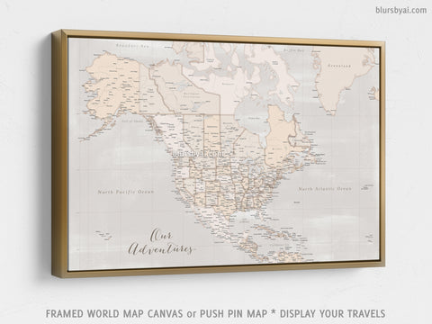"Personalized map of North America, canvas print or push pin map in rustic style. ""Lucille"""
