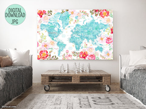 Floral world map printable with aquamarine land masses, countries, states and cities