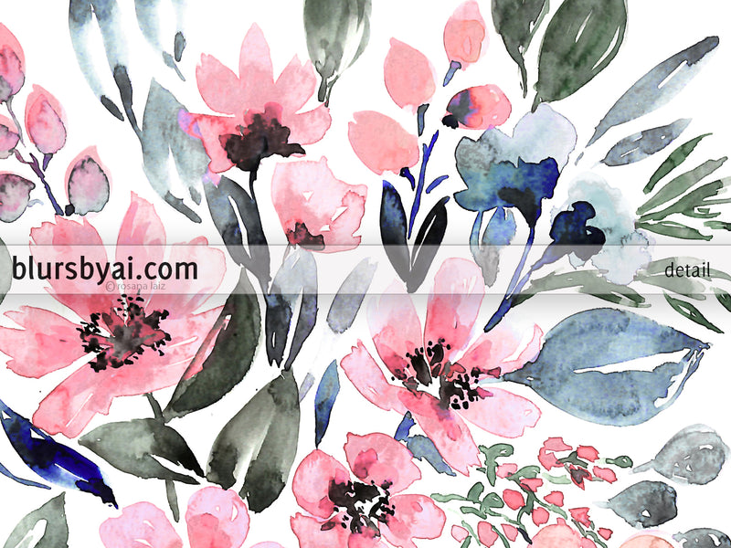 "Printable loose watercolor bouquet, ""Clara"" - Personal use"
