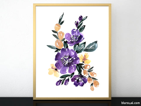 "Printable floral abstract bouquet, ""Amara 2"""