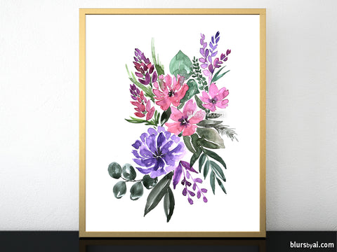 "Printable floral abstract bouquet, ""Edurne"""