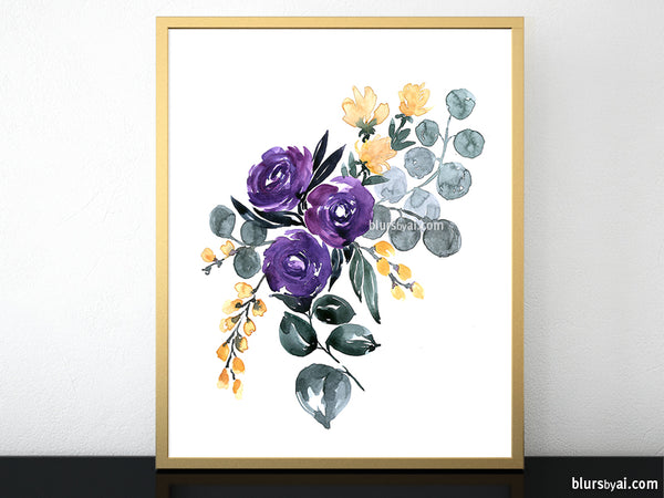 "Printable floral abstract bouquet, ""Amara 1"""