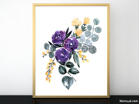 Bohemian floral abstract illustration printables