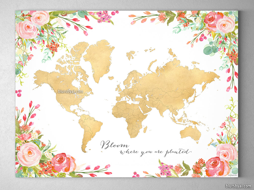 Gold world map with watercolor florals canvas print or push pin map gold world map with watercolor florals canvas print or push pin map bloom where you gumiabroncs Choice Image