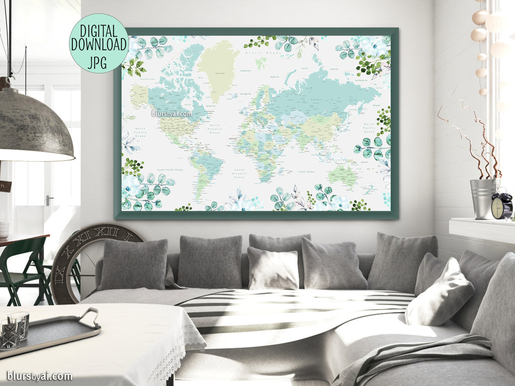 Flowers and greenery world map printable with countries, states and cities - For personal use only