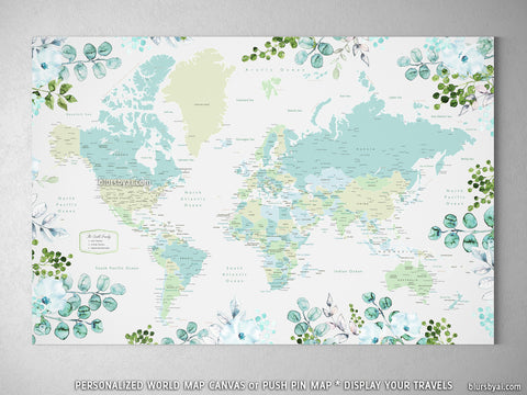 Personalized world map with cities, canvas print or push pin map, floral and greenery watercolor