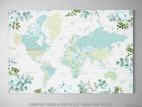 Greenery and florals world map canvas print or push pin map