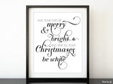 Merry & Bright White Christmas art in white