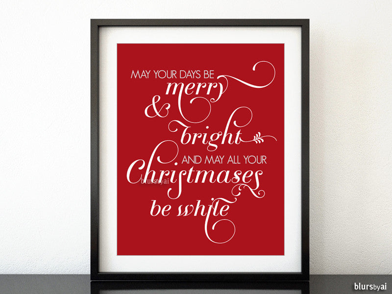 Merry & Bright White, printable Christmas decor in white and red